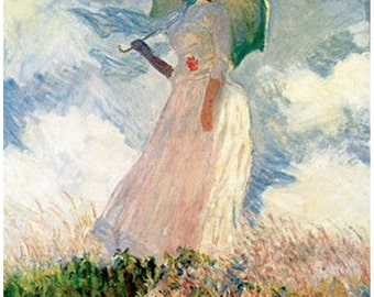 "Claude Monet.    Woman with Parasol.   1886. France, French art. 11x14"" canvas art print"