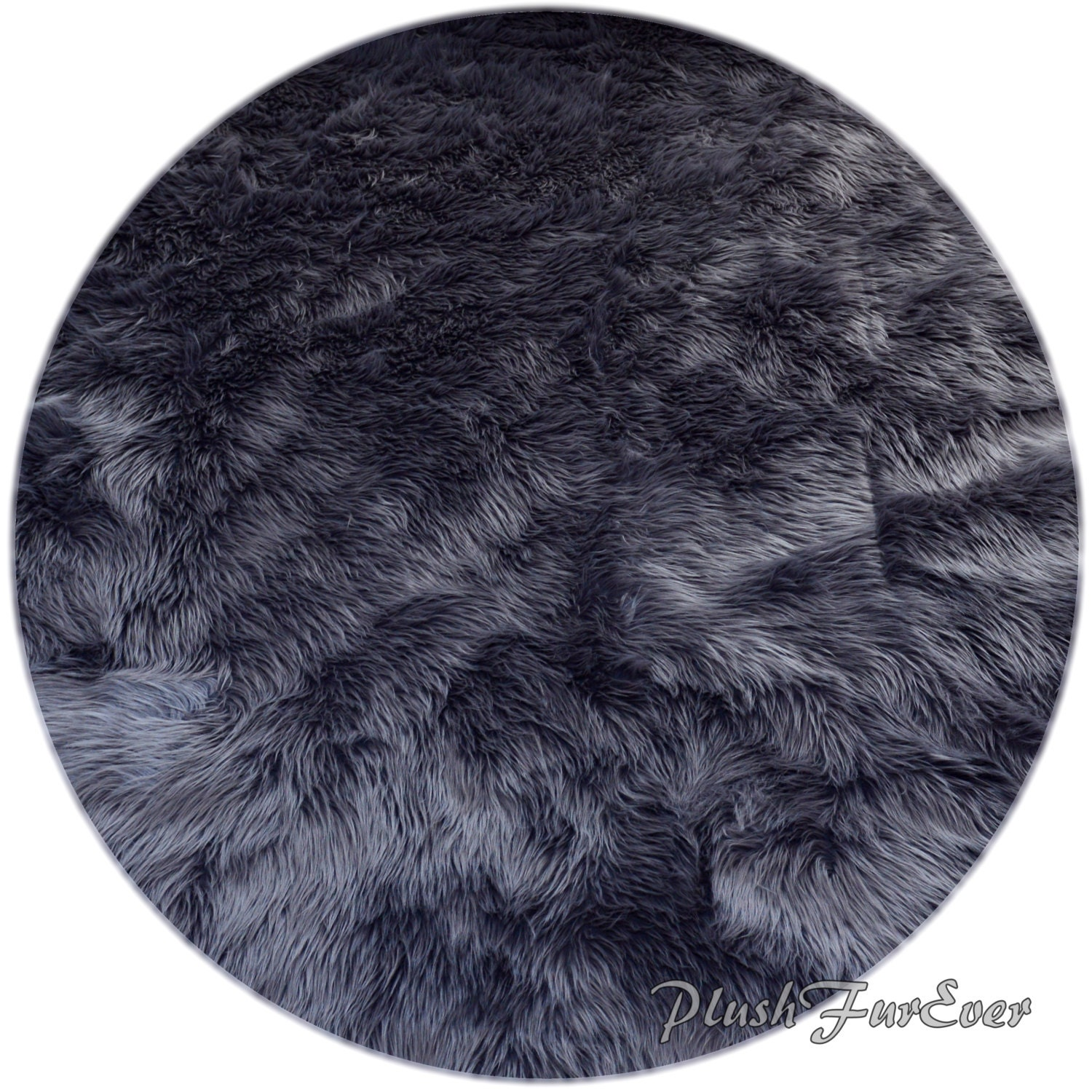 Gray Shaggy Sheepskin Premium Faux Fur Nursery Area Round Rugs