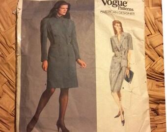 Vintage Vogue 1979 American Designer Ralph Lauren Double Breasted Dress Pattern