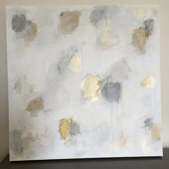 Grey Taupe Paint: Original Abstract Gray Charcoal Taupe Gold Brass White