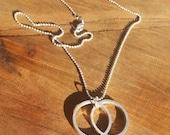 Vesica Piscis Cast Sterling Silver Pendant - Sacred Geometry - Healing