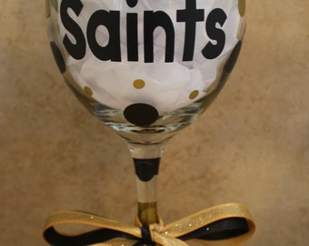 Geaux Saints Wine Glass with Fleur-de-Lis