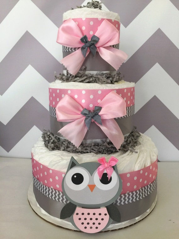 Owl Diaper Cake Decorations : Owl Baby Shower Diaper Cake in Pink and Grey/Owl Baby