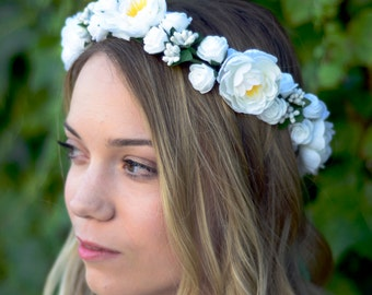 THE ARIA - Bridal White Flower Crown Floral Wreath Woodland Rustic Circlet Bride Wedding Romantic Elegant Flower Girl Summer