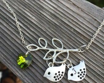 Mom's and Grandma's Bird Branch Tree Initial Necklace with Swarovski Crystal Heart