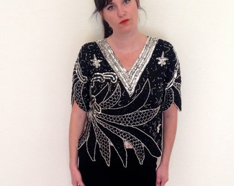 SALE Vintage 1980s Sequined and Beaded Silk Cocktail Party Blouse Top