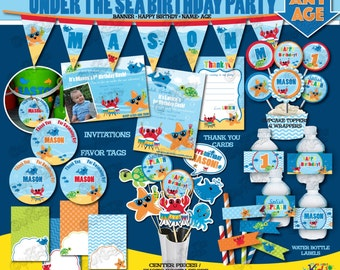 Printable Under the Sea Party Birthday Party Package,  First Birthday Party, Splish Splash party, 1st Birthday Printable Decorations, Summer