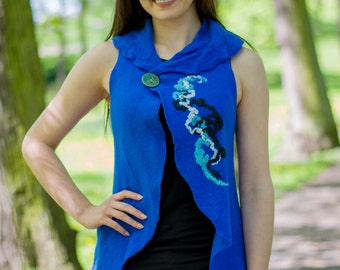 SALE! Free Shipping! Felted Vest, Cobalt, gift idea, Hand Made, Merino Wool,Natural Fibers, Ready to Ship!