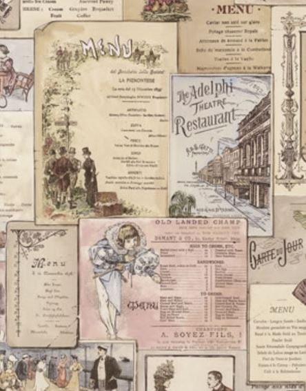 Antique menus wallpaper cafe bistro kitchen restaurant for Vintage jugendzimmer