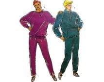 "Women's Running Suits, Elastic Waist Pants, Pullover Top Sewing Pattern Misses Size XS-S-M-L-XL Bust 31 1/2 - 45"" Uncut Kwik Sew 1977"