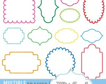 "Multiple Frames clipart, 12 digital labels. Digital 6"" tags. Write your message label clipart. Instant Download. Various colors"