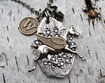 Horse Angel Necklace, Horse Memorial Keepsake, Horse Jewelry