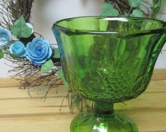 Vintage Green Glass Pedestal Vase with Grape Cluster and Leaves Motif