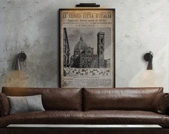 Vintage Italian Newspaper : Vintage Italian Newspaper print - Florence - Firenze Circa 1887