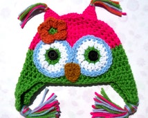 crochet owl hat,handmade items,earflap hat,gifts for girls,toddler hats,christmas gifts,hats for kids,girls clothing,womens accessories,hats