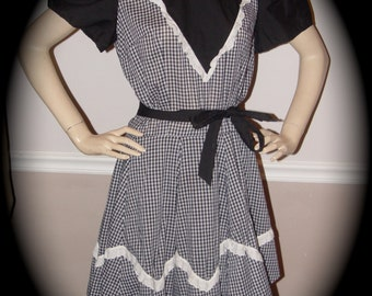 Black and White Gingham Square Dance dress