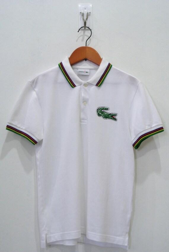 Womens lacoste white polo t shirt size 2 ringer big logo bm for Lacoste size 4 polo shirt