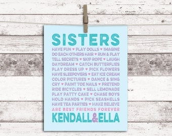 Sisters artwork - girls bathroom wall art decor - purple and teal twins room decor - sisters room decor - sisters names - print or canvas