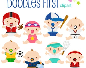 Sports Babies Digital Clip Art for Scrapbooking Card Making Cupcake Toppers Paper Crafts