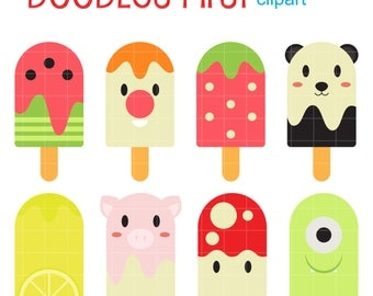 Cute Ice Pops Clip Art for Scrapbooking Card Making Cupcake Toppers Paper Crafts