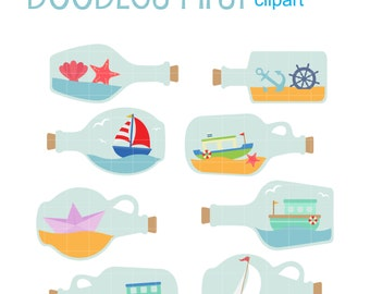 Boats In Bottles Clip Art for Scrapbooking Card Making Cupcake Toppers Paper Crafts