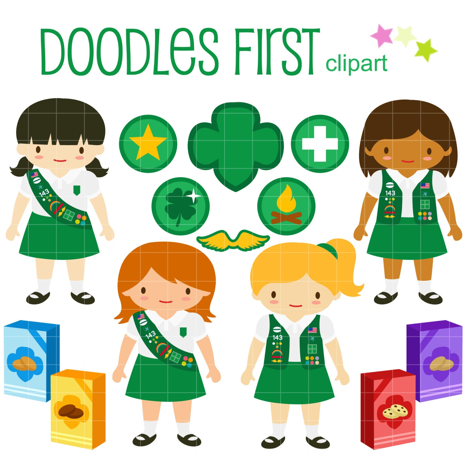 Clip Art Girl Scout Clipart girl scouts clip art etsy junior for scrapbooking card making cupcake toppers paper crafts