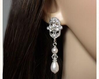 Vintage Style Filigree Wedding Earrings, Pearl Drop Earrings, Bridal Drop Earrings, Pearl and Rhinestone Earrings, Pearl Bridal Earrings