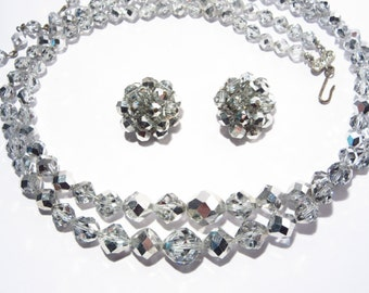 Vintage 50s Crystal Necklace and Earrings Jewelry Set