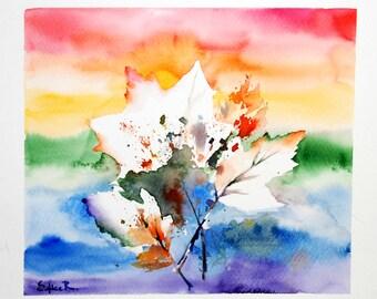 Original Watercolor Painting, Maple Leaves Painting, Watercolour Art, Rainbow Colors Art