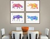 African Animal Art, Set of 4 Prints,, Wildlife Animal Art, Rhino, Hippo, Wildebeest, Elephant, Watercolor Animal Painting, Nursery Wall Art