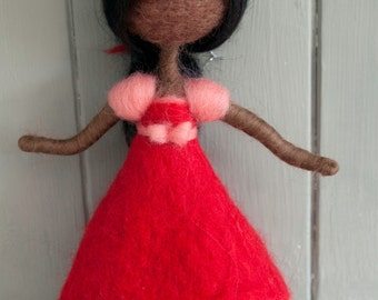 Needle felted girl decoration