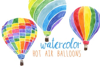 Watercolor Hot Air Balloons Party Festive Clip Art, Hot Air Balloon Clipart, Carnival Clipart, Summer Illustration, Fun Clip Art, Balloons