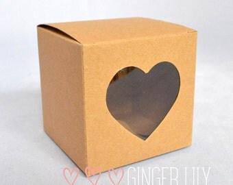 Rustic Brown Kraft Heart Window DIY Wedding Favour Box - Pack of 50 - 5cm Cube