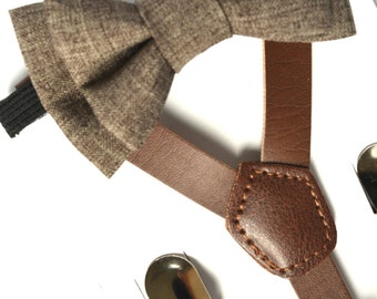 SUSPENDER & BOWTIE SET.  Newborn - Adult sizes. Dark brown pu leather suspenders. Dark Brown Chambray bow tie