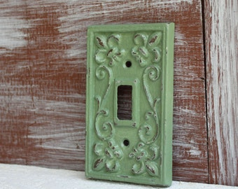 Light Switch Cover, Sage Green, Switch Plate, Single Switch Plate Cover, Cast Iron Fleur de lis cover plate, Shabby Cottage Chic, Distressed