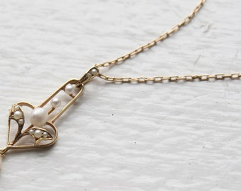 Antique Victorian Lavalier with Pearls in 14k yellow gold - JL231