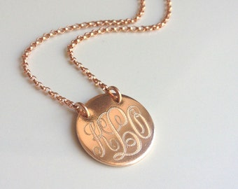 Rose Gold Monogram Necklace - Initial Necklace - Personalized Gold Charm - Custom Engraved Necklace - Gift for Her - Bridesmaids Jewelry