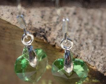 Green Swarovski Heart Earrings