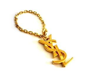 YVES SAINT LAURENT ~ Authentic Vintage Gold Plated Key Ring/KeyChain/Charm Logo
