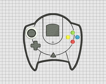 Video Game Controller Sega Dreamcast Style Applique Embroidery Design in 4x4 5x5 6x6 and 7x7 Sizes