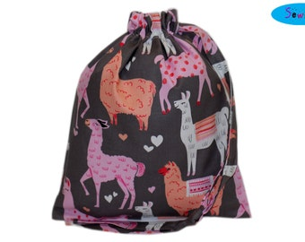 Knitting Bag | Project Bag | Sock Knitting Bag | Drawstring Bag | Llama Bag | Alpaca Pouch | Drawstring Pouch