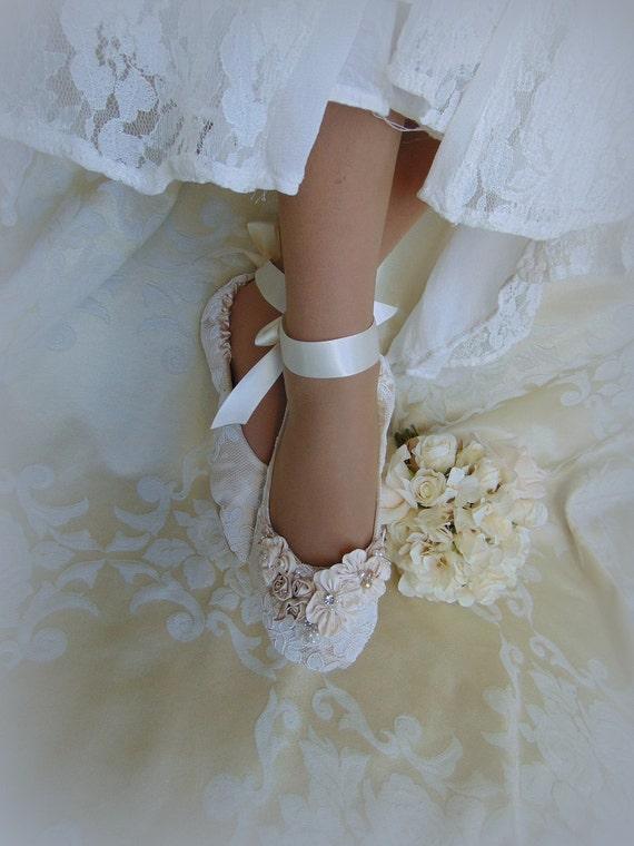 Bride Princess Ballet Slippers Lace Bridal Flat Shoelace