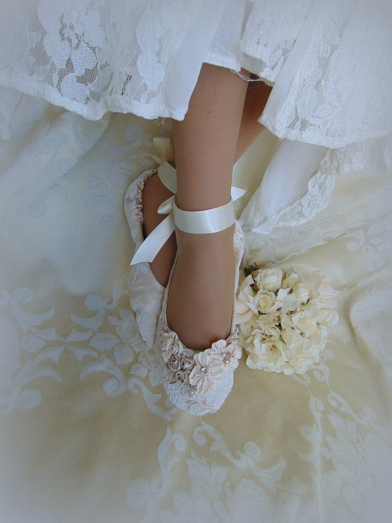 Bride Princess Ballet Slippers Lace Bridal Flat ShoeLace