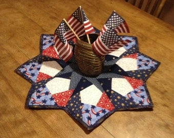 4th of July Quilted Table Center Piece (Reversable)