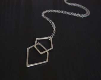 Large Sterling Silver Geometric Pendant