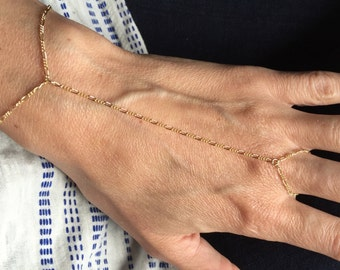 Dainty gold hand chain, delicate gold chain slave bracelet, gold figaro chain slave bracelet, slave hand bracelet, chain slave hand bracelet
