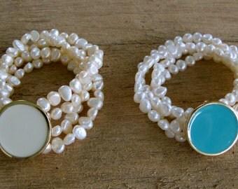 Monogrammed Fresh Water Pearl Bracelet