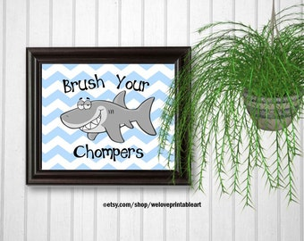 Kids Bathroom Art, Ocean Bathroom Decor, Shark Bathroom Wall Art, Printable Art, Bathroom Sign, Brush Your Teeth, Bathroom Accessories
