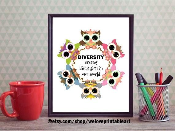 Multicultural Classroom Decor : Teacher classroom poster owl decor diversity by