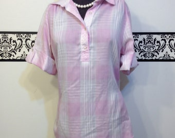 1980's Pastel Pink Plaid Rockabilly Blouse by Classic Essentials, Size 14 Large, Vintage Pin Up Pink Plaid Blouse,Rockabilly Rosie Shirt
